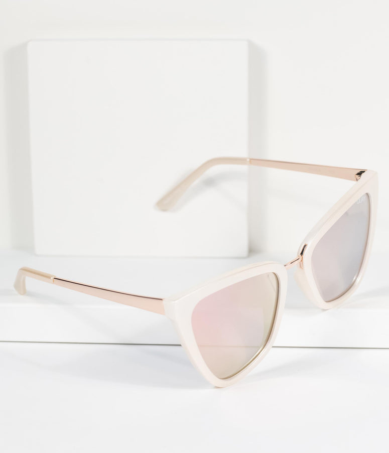 Quay Pearl & Rose Gold Reina Cat Eye Sunglasses