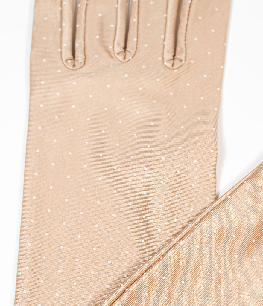 Unique Vintage Iced Coffee & White Pin Dot Gloves