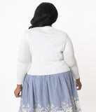Plus Size White Three-Quarter Sleeved Crop Cardigan