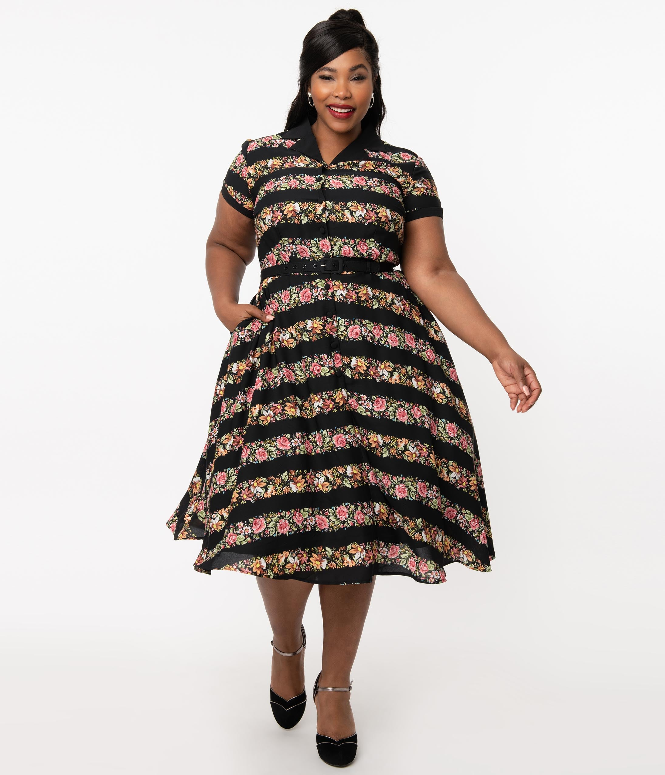 1950s Plus Size Fashion & Clothing History Unique Vintage Plus Size 1950S Black  Floral Stripe Alexis Swing Dress $98.00 AT vintagedancer.com