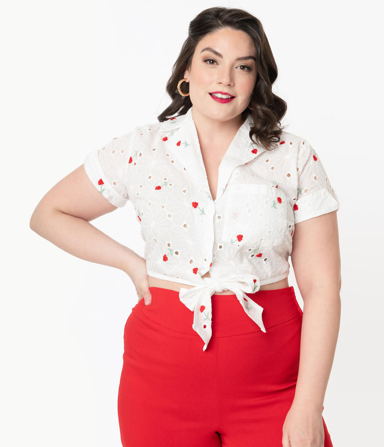 Unique Vintage Plus Size White Eyelet & Red Florals Shirley Crop Top