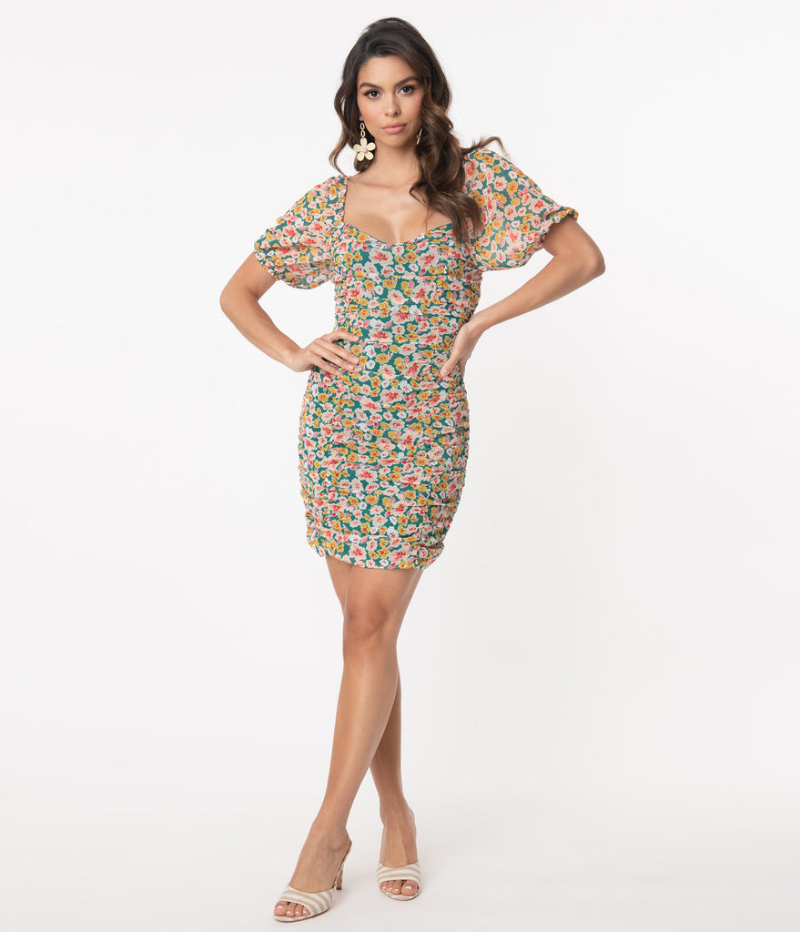Multicolor Floral Fitted Mini Dress