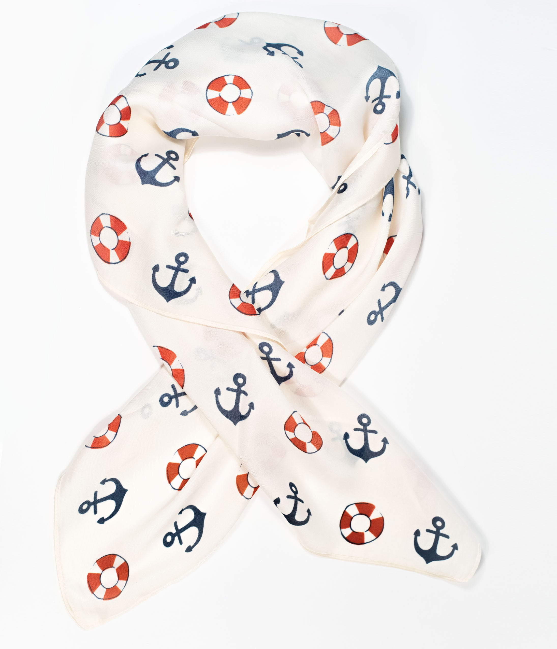 Vintage Scarves- New 1920s to 1970s Styles Unique Vintage Nautical Print Hair Scarf $16.00 AT vintagedancer.com