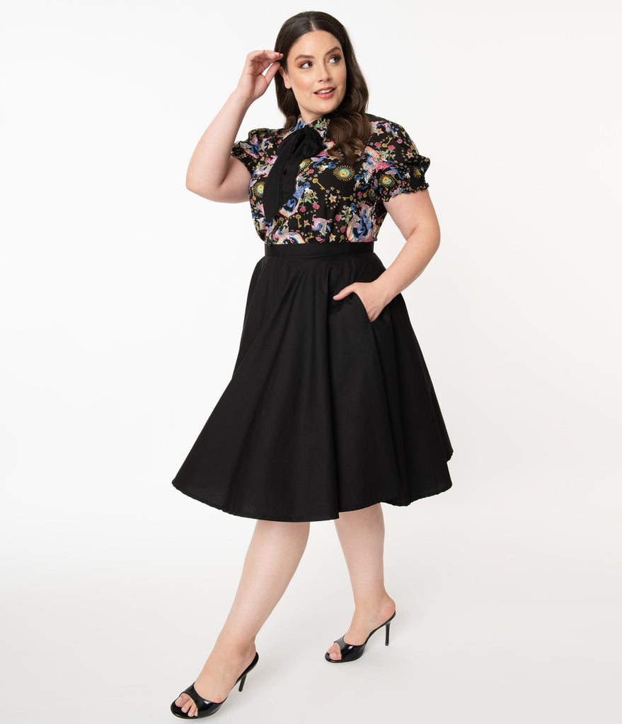 Plus Size 1950s Style Black High Waist Swing Skirt
