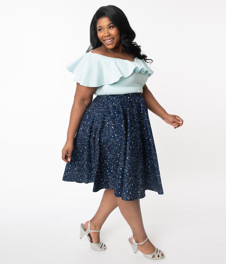 Plus Size 1950s Navy Star Constellation Print Swing Skirt