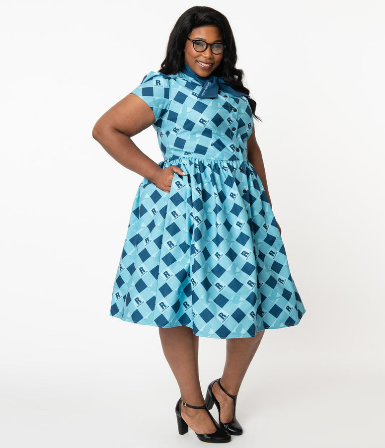 Harry Potter x Unique Vintage Plus Size Ravenclaw Cora Swing Dress