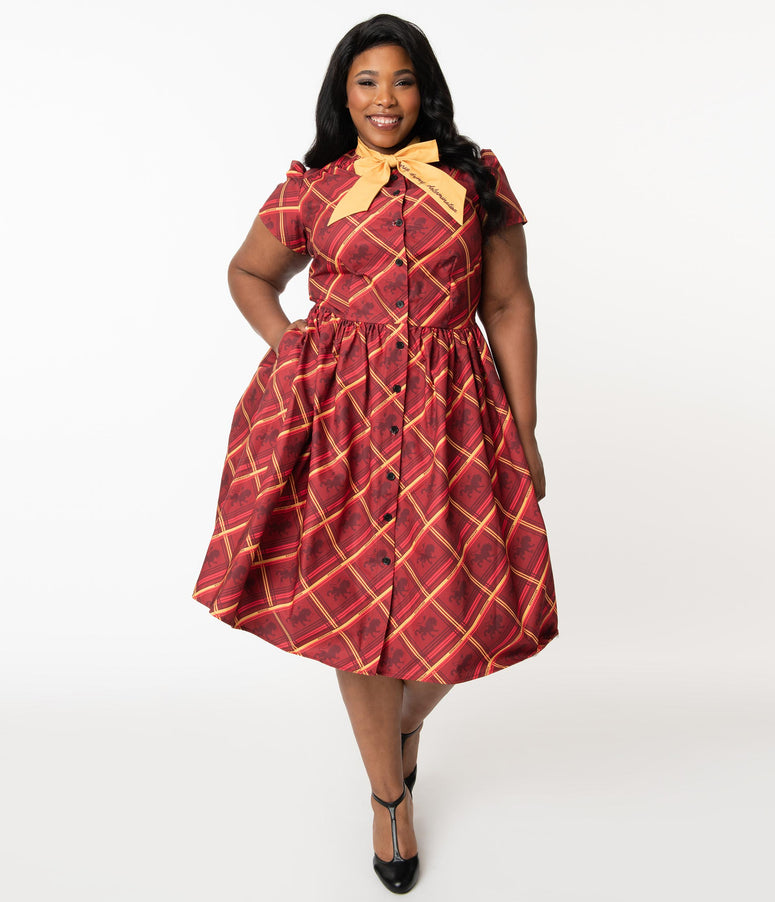 Harry Potter x Unique Vintage Plus Size Gryffindor Cora Swing Dress
