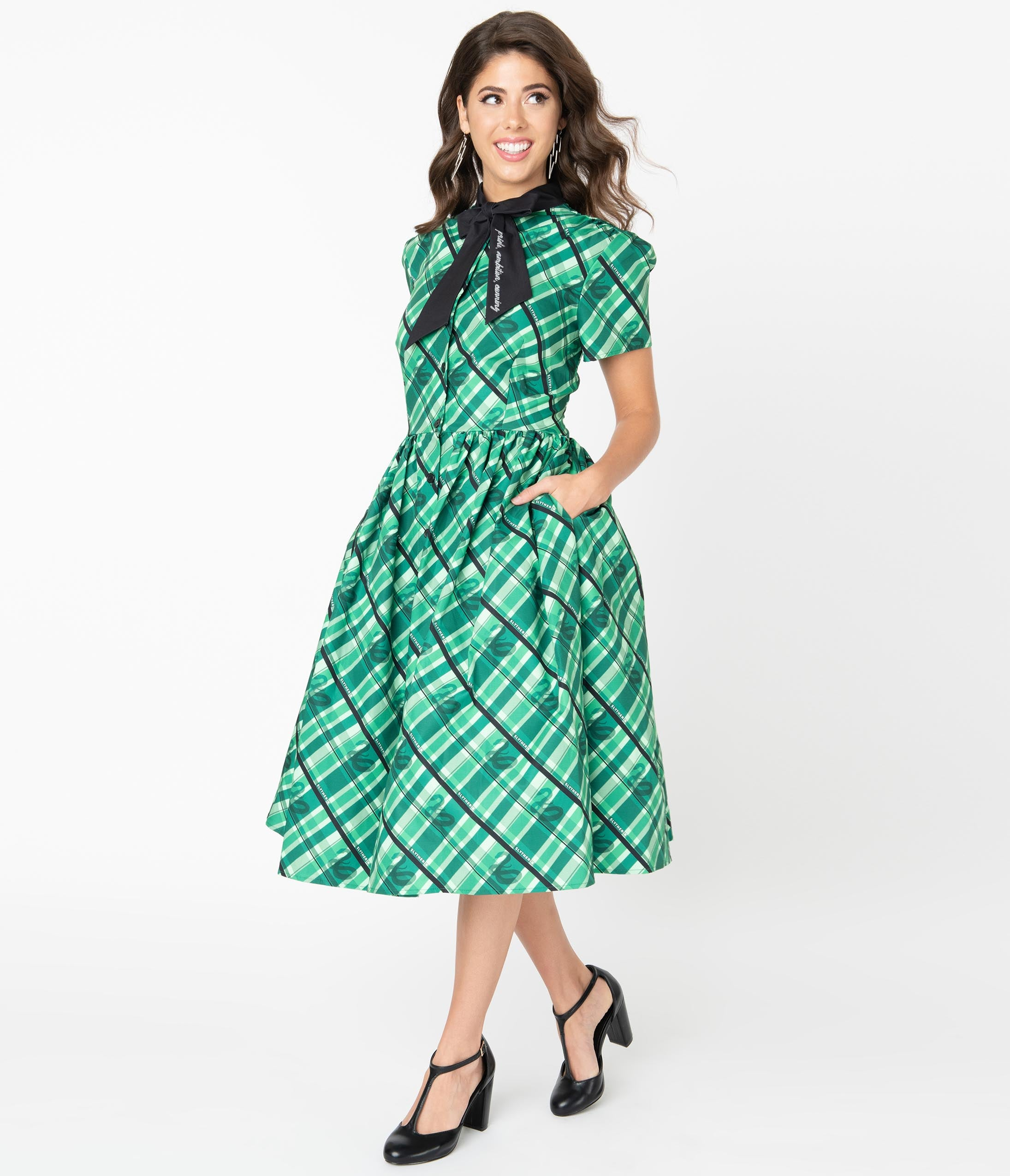 Vintage Shirtwaist Dress History Harry Potter X Unique Vintage Slytherin Cora Swing Dress $128.00 AT vintagedancer.com