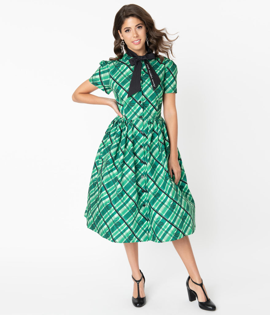 Harry Potter x Unique Vintage Slytherin Cora Swing Dress