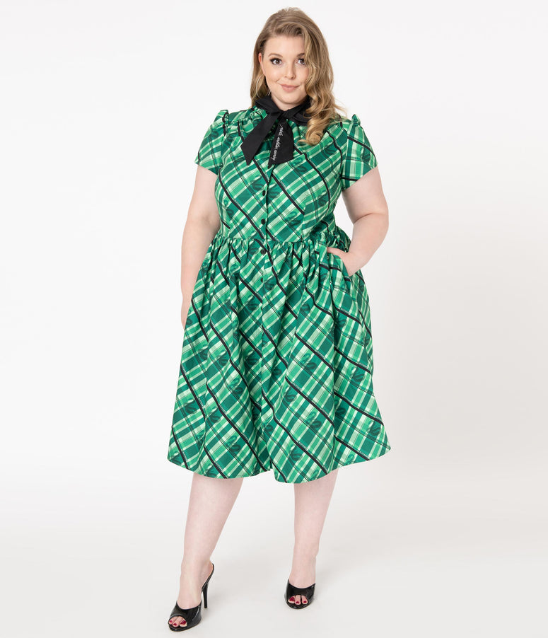 Harry Potter x Unique Vintage Plus Size Slytherin Cora Swing Dress