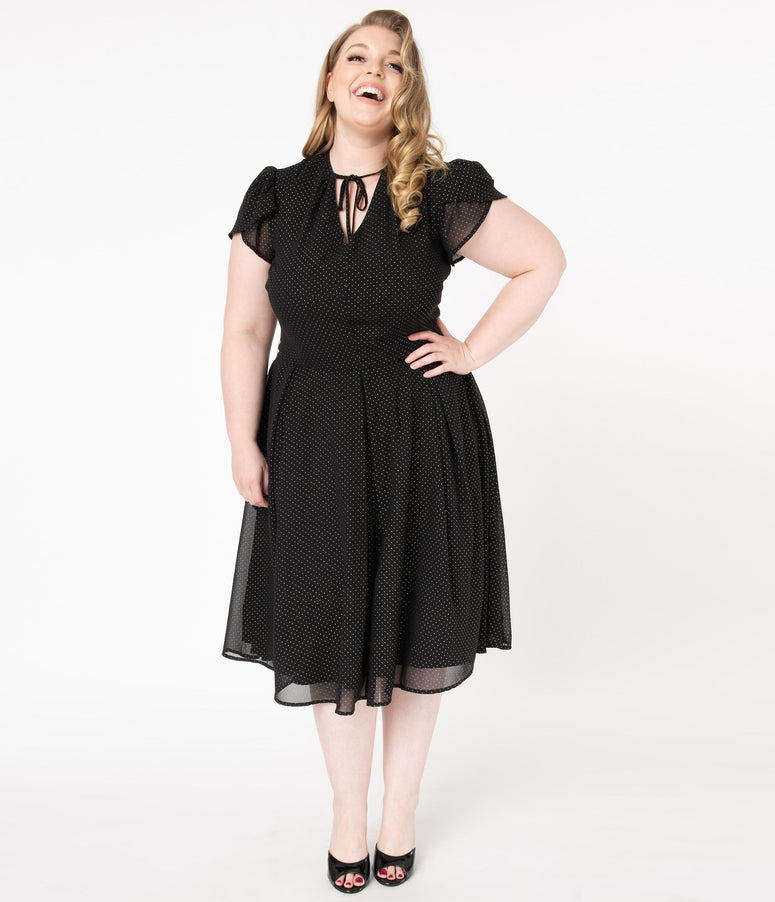 Unique Vintage Plus Size 1950s Black & Gold Pin Dot Dahlia Midi Dress