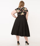 Unique Vintage Plus Size Black High Waist Waters Swing Skirt