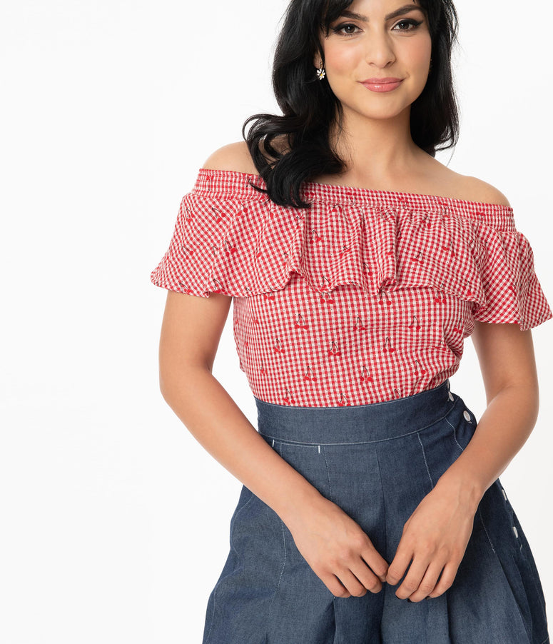 Unique Vintage Red & White Gingham Cherry Print Luanne Top