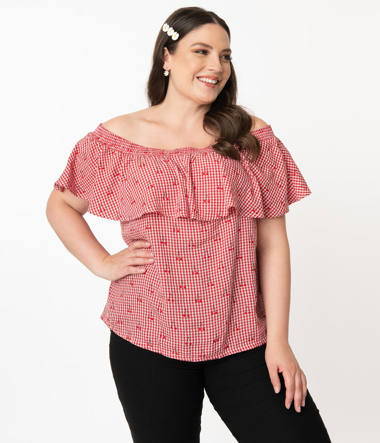 Unique Vintage Plus Size Red & White Gingham Cherry Print Luanne Top