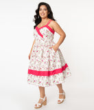 Unique Vintage Plus Size White & Pink Floral Print Darienne Swing Dress