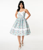 Unique Vintage Light Blue & Pink Floral Print Darienne Swing Dress