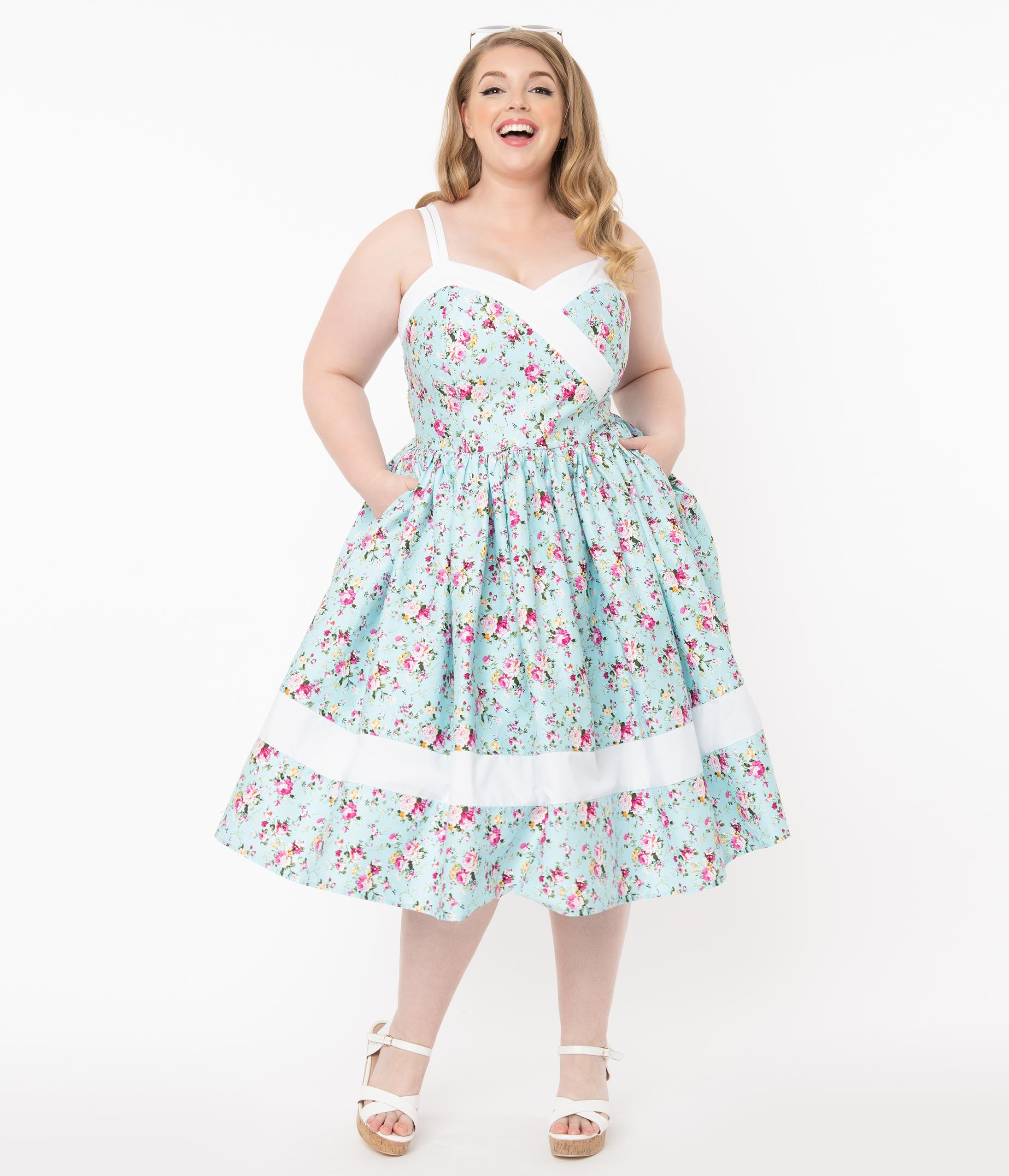 1950s Plus Size Fashion & Clothing History Unique Vintage Plus Size Light Blue  Pink Floral Print Darienne Swing Dress $78.00 AT vintagedancer.com