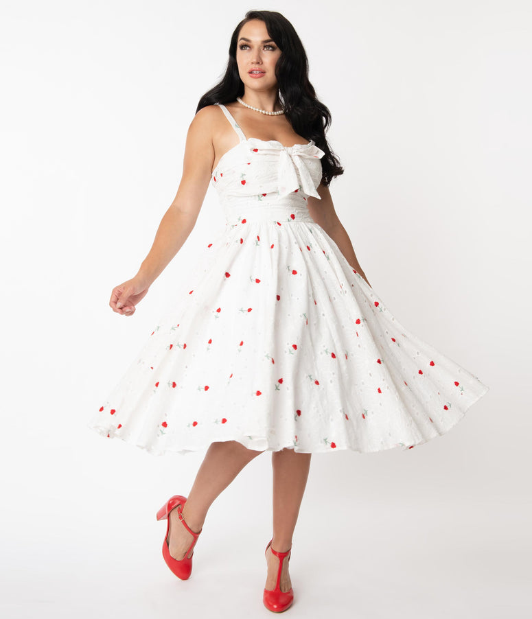 Unique Vintage White Eyelet & Red Roses Golightly Swing Dress
