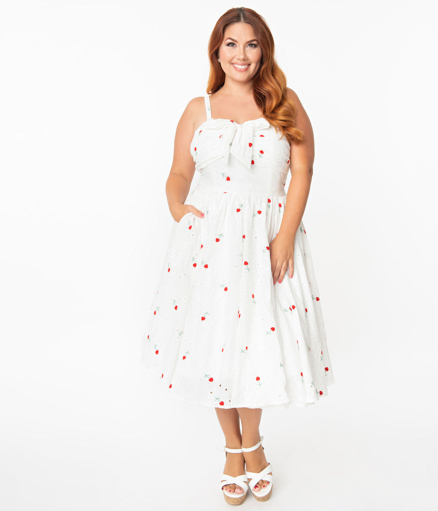 Unique Vintage Plus Size White Eyelet & Red Roses Golightly Swing Dress