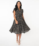 Unique Vintage 1950s Black & Pink Floral Dahlia Midi Dress