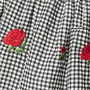 Unique Vintage Plus Size Black Gingham & Red Roses Chessie Crop Top