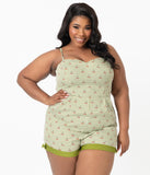 Unique Vintage Plus Size Green Gingham & Cherry Print Ossining Romper