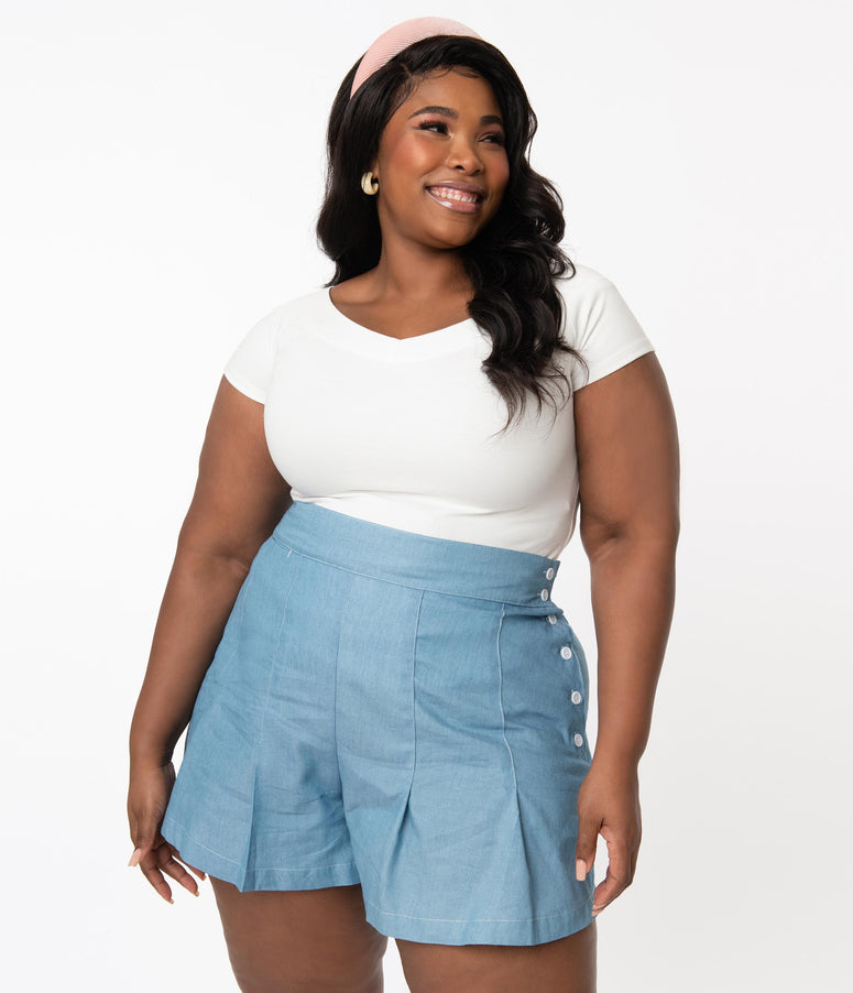 Unique Vintage Plus Size Light Blue Chambray Joyce Shorts