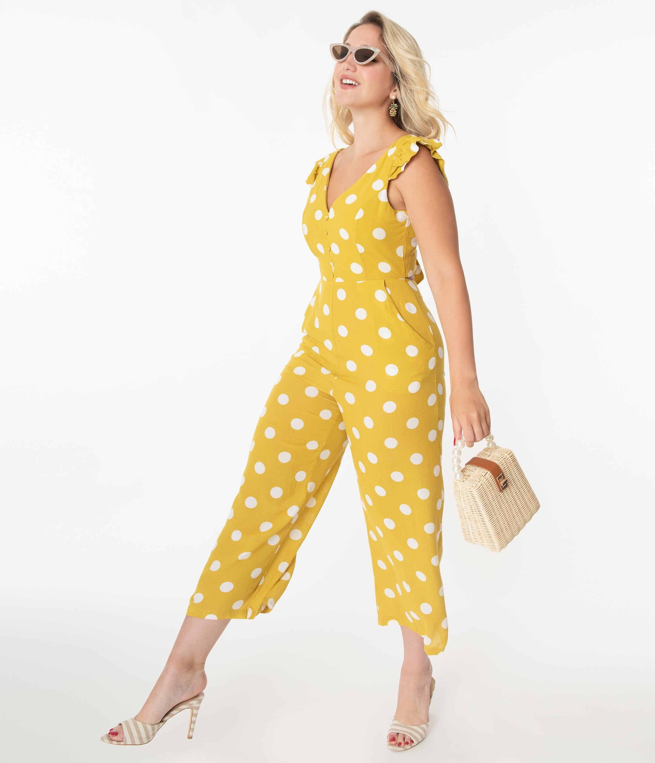 Vintage Overalls 1910s -1950s History & Shop Overalls Pear Yellow  White Polka Dot Jumpsuit $68.00 AT vintagedancer.com