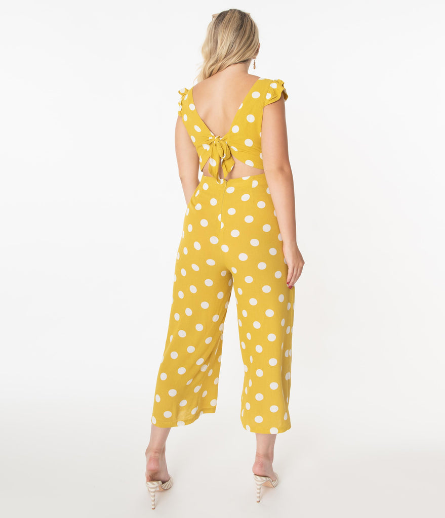 Pear Yellow & White Polka Dot Jumpsuit