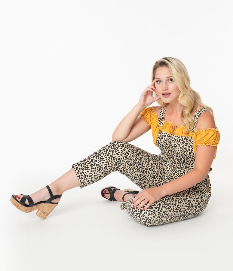 1970s Style Leopard Print Cropped Overalls