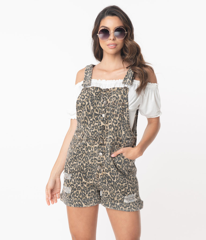 Leopard Print Distressed Overall Romper
