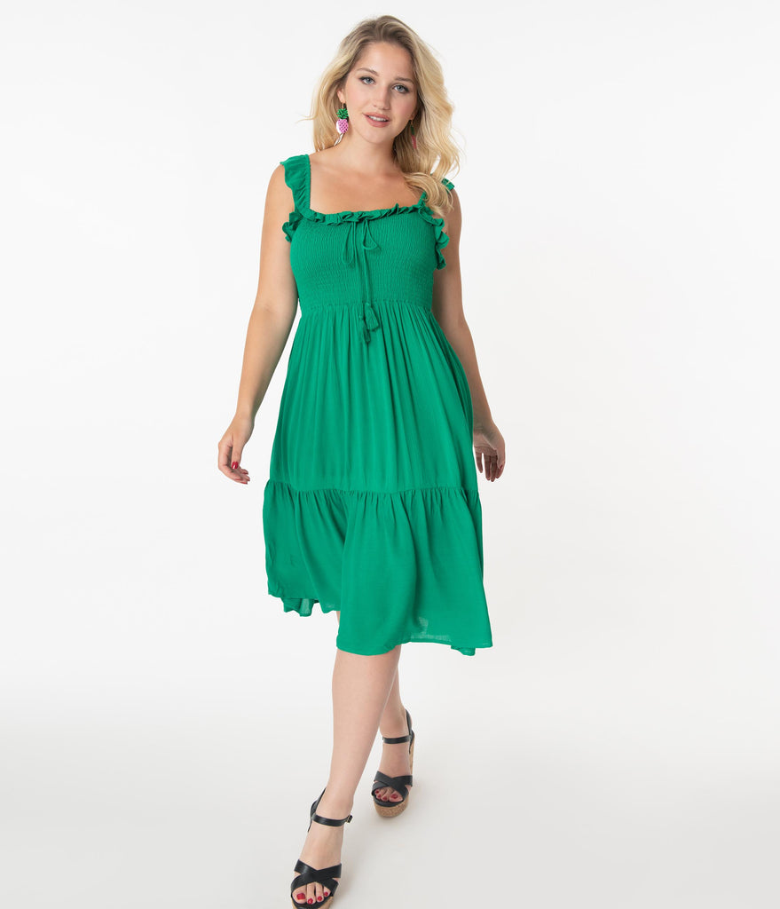 Retro Style Green Smocked Midi Dress
