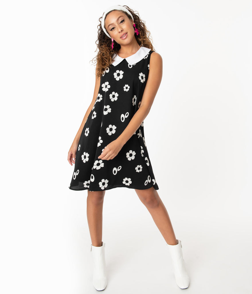 Smak Parlour Black & White Floral Print Summer of Love Dress