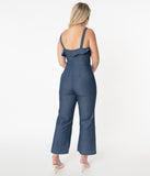 Dark Denim Cropped Jumpsuit