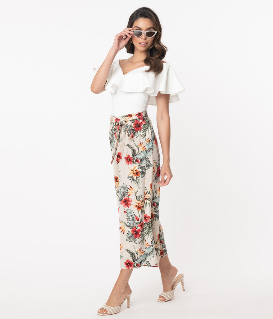 Retro Style Tropical Print Wide Leg Culotte