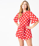 Retro Style Red & White Polka Dot Romper
