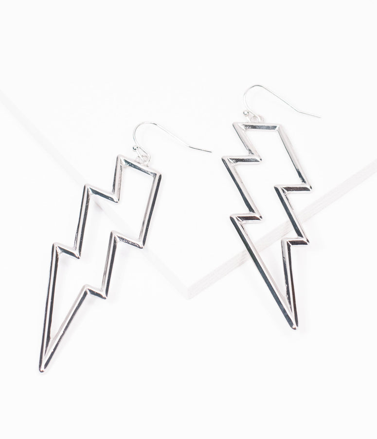 Silver Lightning Bolt Earrings