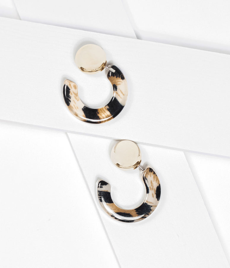 Retro Style Leopard Hoop Earrings