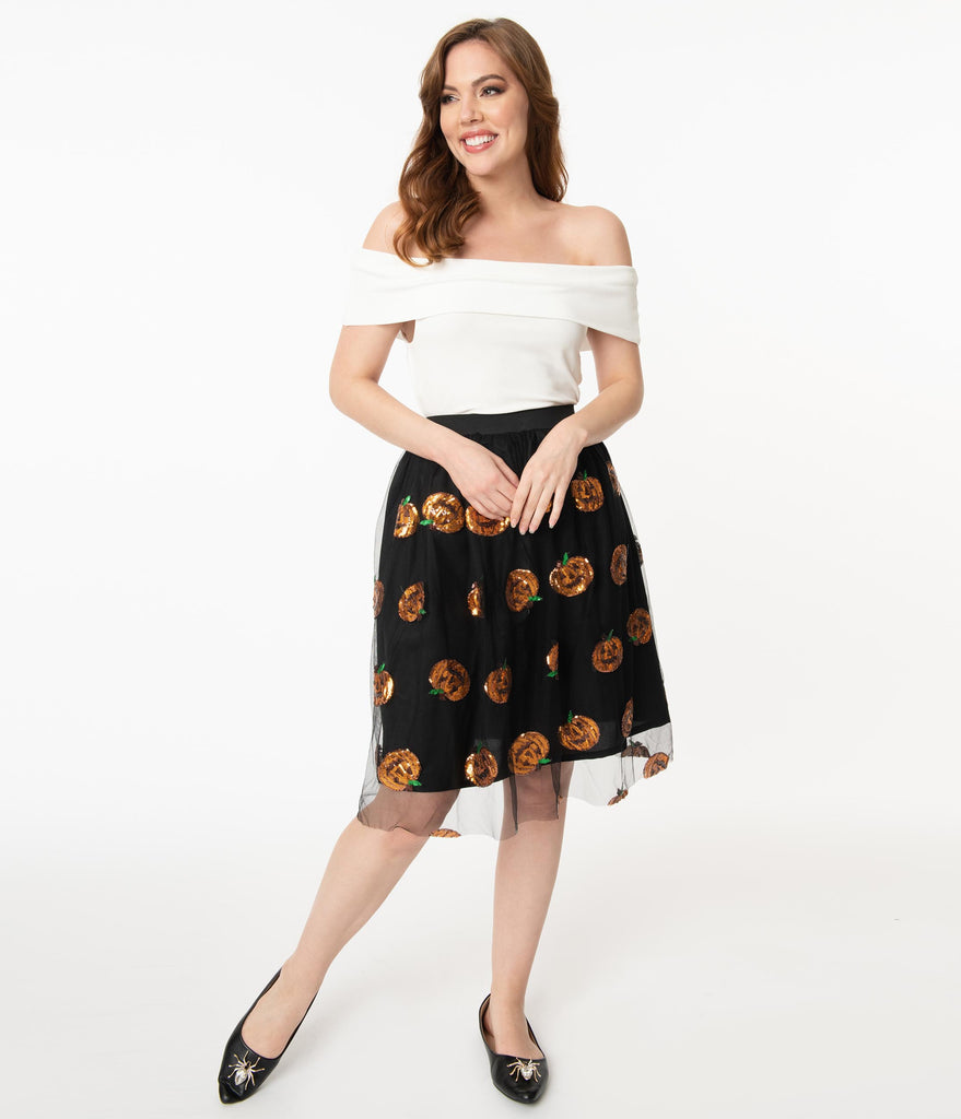Magnolia Place Black Tulle & Orange Pumpkin Sequin Swing Skirt