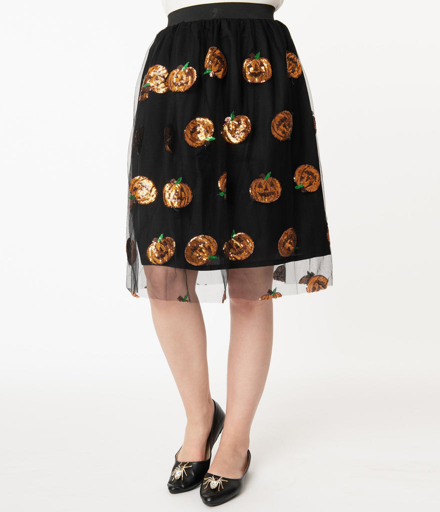 Black Tulle & Orange Pumpkin Sequin Swing Skirt