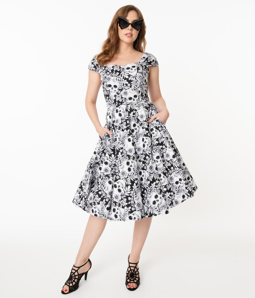 Black & White Skulls & Roses Print Aida Swing Dress