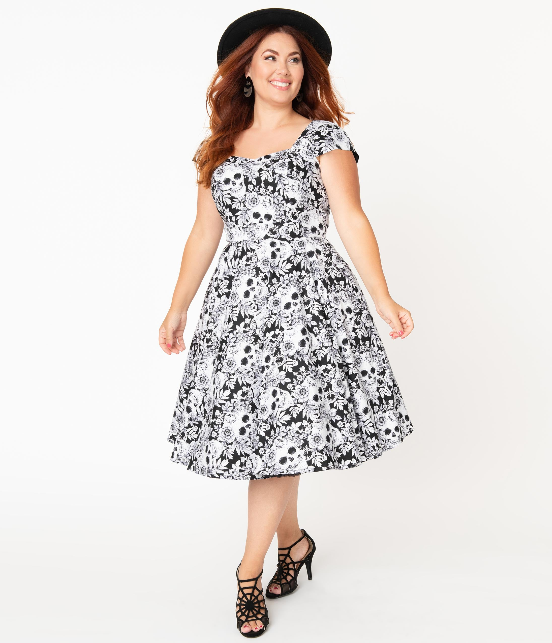 Vintage Retro Halloween Themed Clothing Plus Size Black  White Skulls  Roses Print Aida Swing Dress $88.00 AT vintagedancer.com
