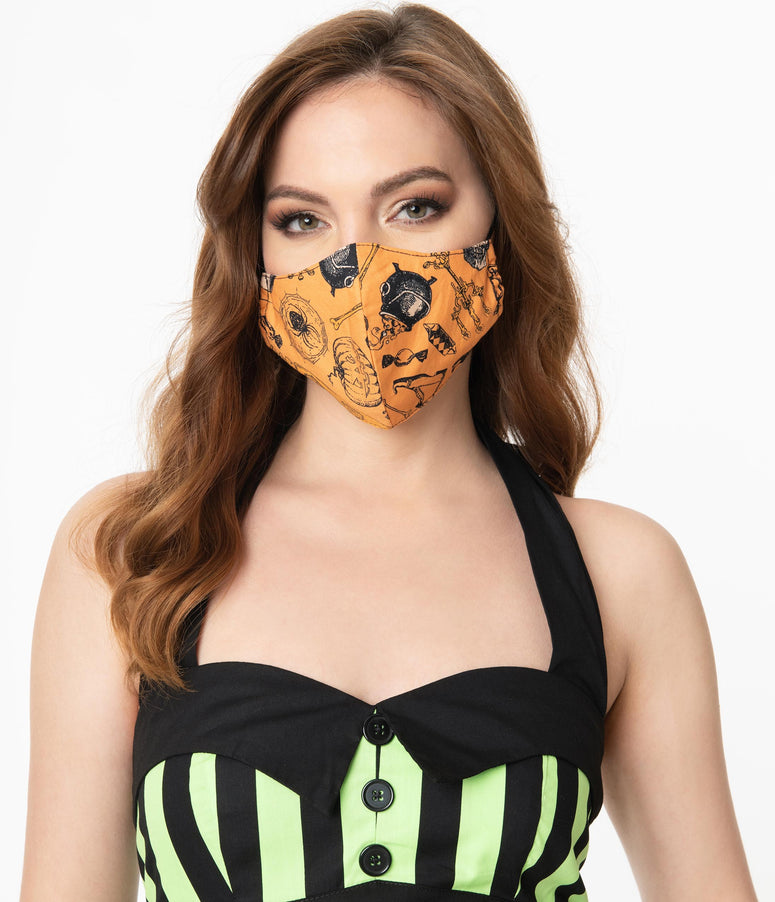 Orange Halloween Print Face Mask
