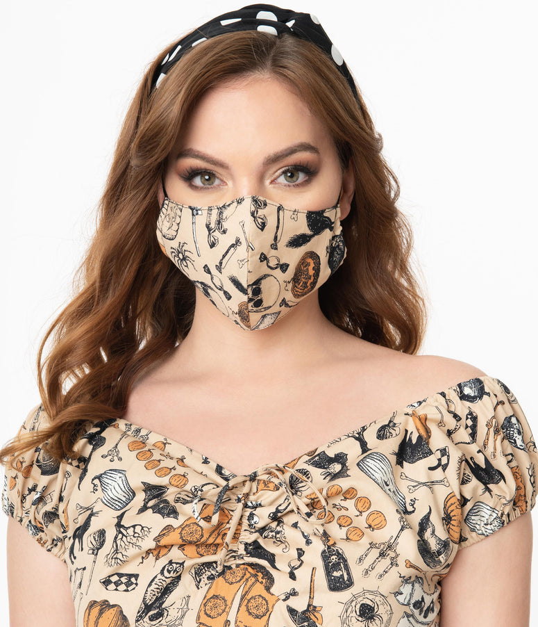 Cream Halloween Print Face Mask