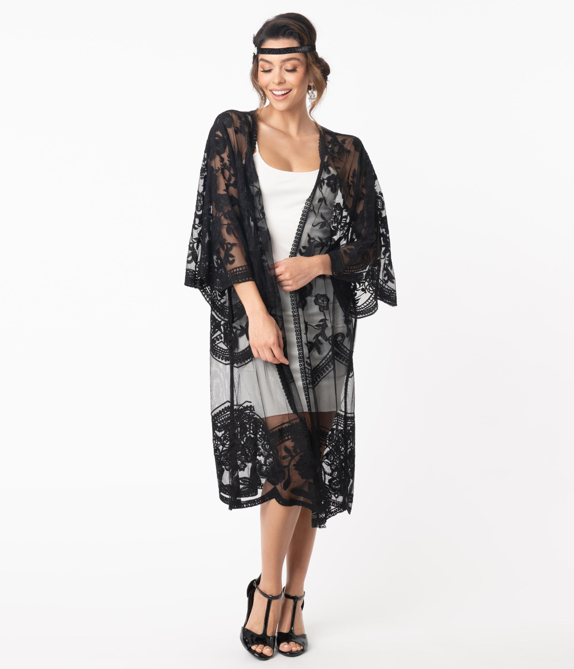 1920s Shawls, Scarves and Evening Jacket Tips 1920S Style Black Crochet Lace Kimono $48.00 AT vintagedancer.com