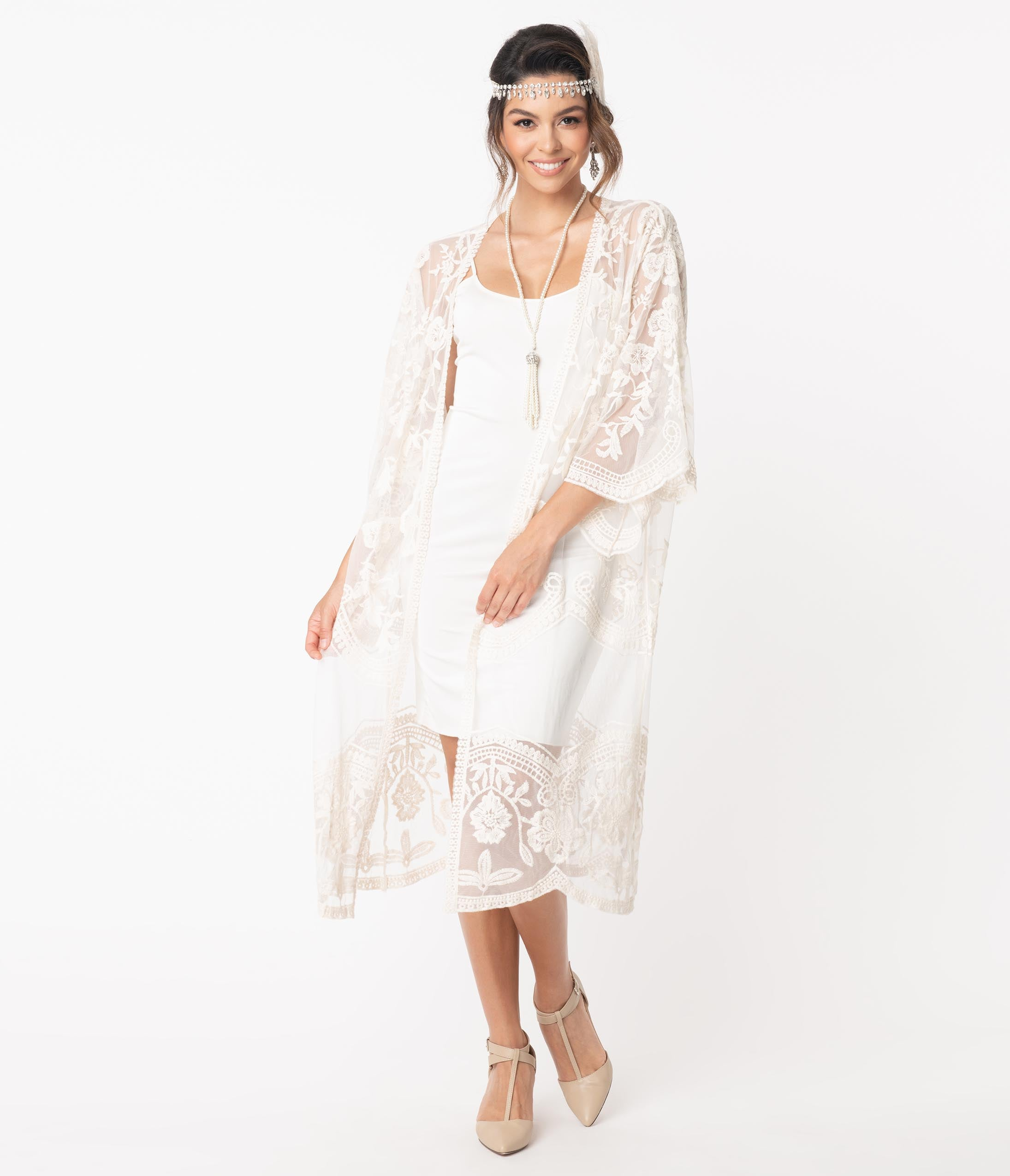 1920s Shawls, Scarves and Evening Jacket Tips 1920S Style Cream Crochet Lace Kimono $48.00 AT vintagedancer.com