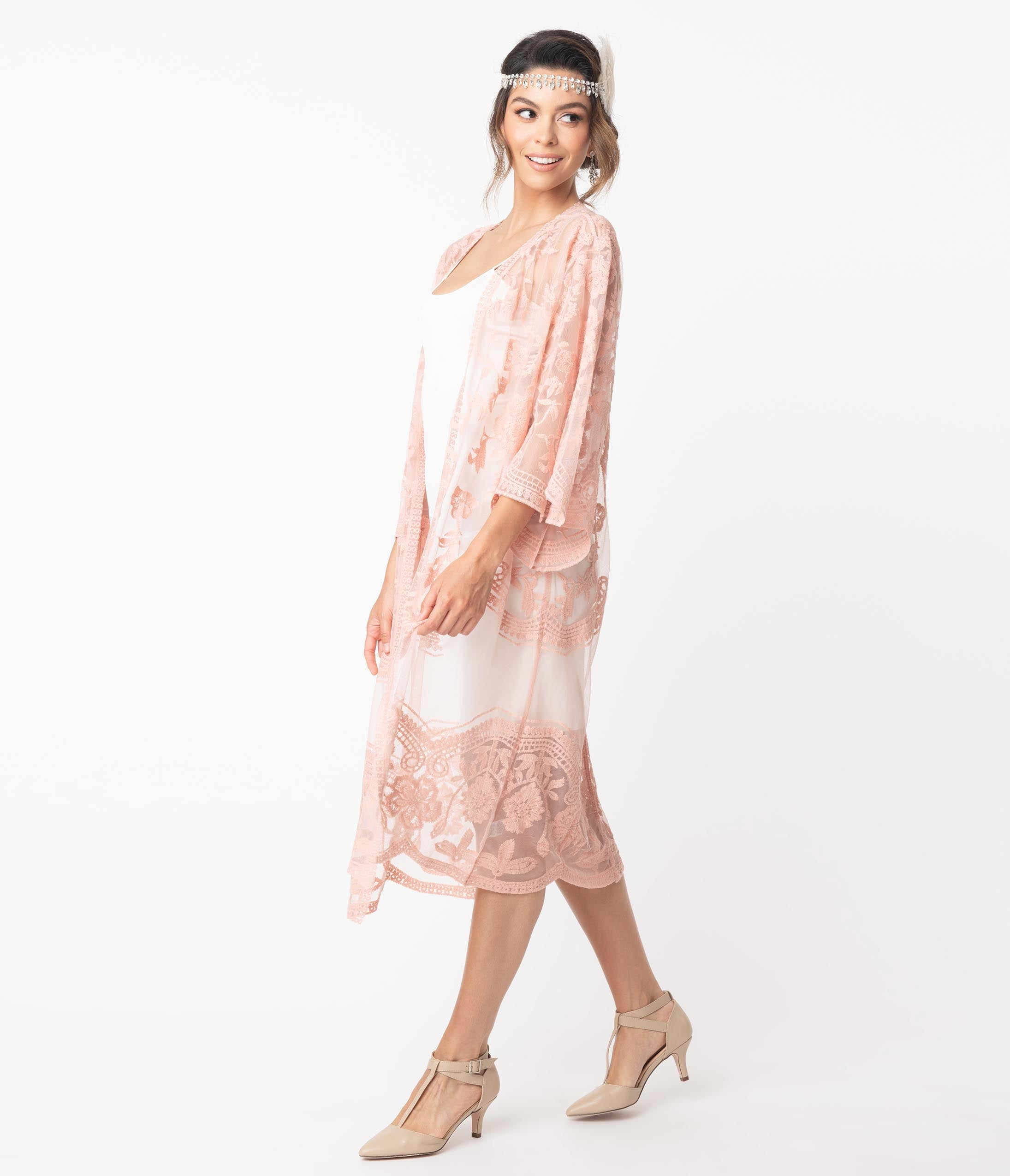 1920s Shawls, Scarves and Evening Jacket Tips 1920S Style Blush Pink Crochet Lace Kimono $48.00 AT vintagedancer.com