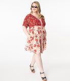 Plus Size Red & Pink Floral Babydoll Dress