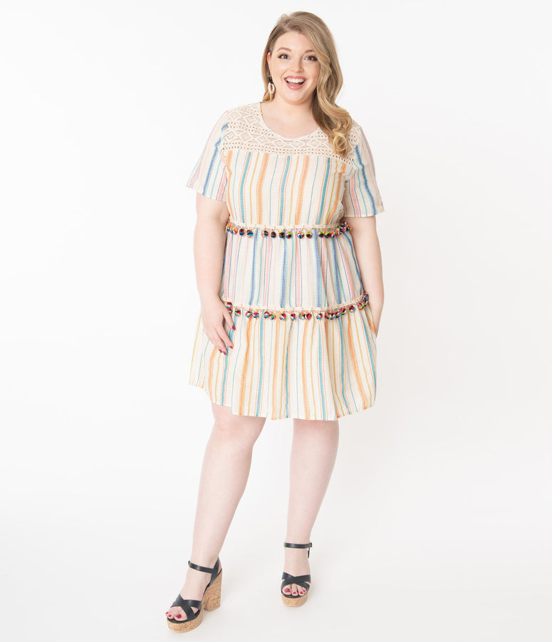 Plus Size Cream & Multicolor Stripe Pom Pom Fit & Flare Dress