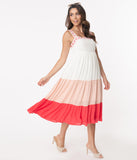 Off White & Coral Tiered Coloblock Maxi Dress